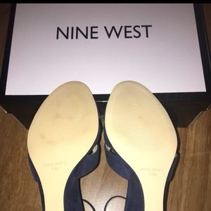 Nine West Shoes - Navy, Suede Wedge Sandals